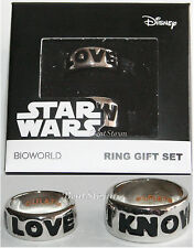 Star Wars I Love You / I Know Ring Set Size 7 & 10 Han Solo Leia Rings Licensed