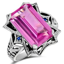 12CT Pink Sapphire & Sapphire 925 Solid Sterling Silver Filigree Ring Sz 6 ZF8