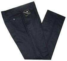 Pantalone uomo flanella misto lana 46 48 50 52 54 56 58 60 blu scuro MADE  ITALY