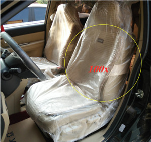 100pcs Disposable Plastic Car Seat Covers Valet Roll Protective Repair Service