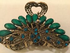 """LARGE GORGEOUS PEACOCK HAIR CLIP ACCENTED WITH RHINESTONES GOLD ALLOY 3 1/2"""""""