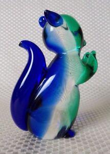 Rare Vintage 1950s Archimede Seguso Murano Blue/Green Art Glass Squirrel Figure