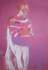 Expressionist portrait pastel drawing
