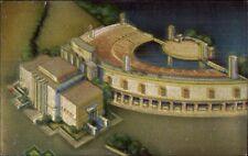 1939 New York City NY World's Fair Marine Theatre Metalite Series Postcard