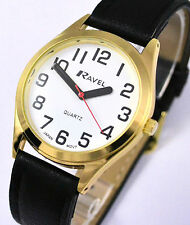Ravel Mens SUPER BOLD HANDS BIG NUMBERS Watch Easy Read White Face Black Strap