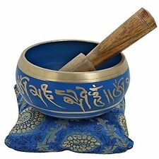 "Singing Bowl Meditation 4"" Metal Tibet Yoga Buddhist Chime W Stick & Pillow Blue"