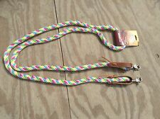 "Pastel Rainbow Western barrel race/contesting rope reins 5/8"" x7 ft Tough-1"