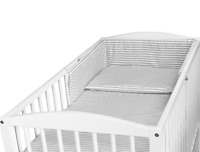 BABY 3PC BEDDING SET PILLOW DUVET BUMPER FIT COT 120x60cm Grey Stripes