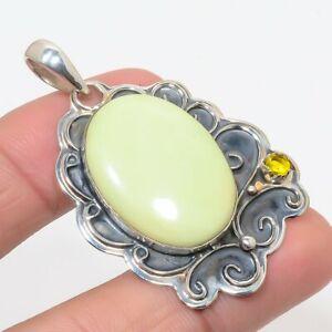 """Australia Lemon Chrysoprase & Citrine 925 Sterling Silver Pendant 2.0"""" S1953"""