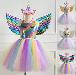 Kids Flower Girls Party Unicorn Tutu Fancy Dress Costume Headband Wing Outfit SG