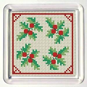 "Cross Stitch Coaster kit, ""Holly"", acrylic coaster included"