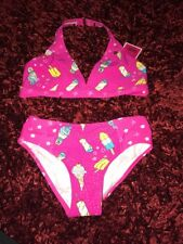 New Juicy Couture Black Label Girl's Pink Ice Cream Star Bikini Sz 10 Retail $62