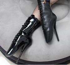 "EXTREME 7"" HIGH HEEL ballet ankle boots black fetish lock lockable padlock"