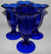 "4 Anchor Hocking Glass Cobalt Blue Fountainware 6"" Footed Sundae Tumblers"