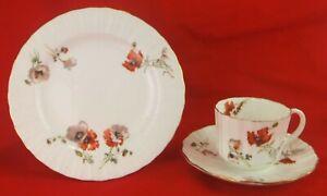 Antique C1900 Doulton Burslem Bone China Tea Cup, Saucer & Plate Poppy Pattern