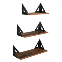 3 Pcs Floating Shelves Wall Rustic Wood for Bathroom Bedroom Office Living Room