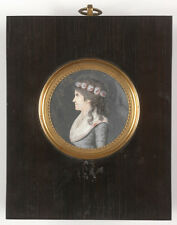 """Portrait of a young woman"", French miniature, 1790s"