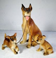1950's Lipper & Mann Japan Great Dane Dog with Puppies on Leash Figurines