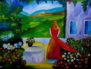 on her Porch  Natasha Petrosova original painting 16x20 inch