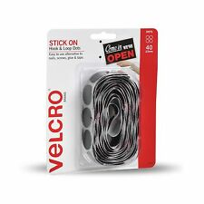 VELCRO® Brand STICK ON HOOK & LOOP DOTS 22mm 40Pcs Adhesive Backed BLACK Nylon