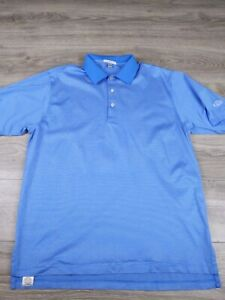 Peter Millar Mens Sz L Cotton Blue Striped Short Sleeve Polo Shirt Embroidered
