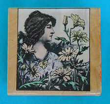 "Hero Arts ""Poetic Prints"" rubber stamp, WOMAN WITH FLOWERS, 2"" x 2"" wood block"