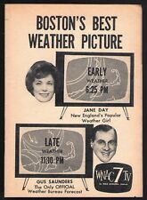 1961 WNAC BOSTON TV NEWS AD~JANE DAY & GUS SAUNDERS WEATHER FORECAST~CHANNEL 7