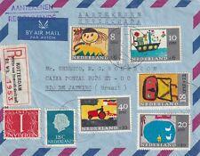 Aangetekende envelop Rotterdam naar Rio met kinderserie 1965