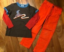 Boys Mini Boden/Gap Outfit 4-5Y BMX Rider Applique Shirt Orange Jeans