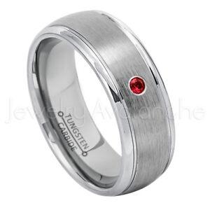 Brushed Dome Tungsten Ring 0.07ct Men's Garnet Ring January Birthstone Ring #176