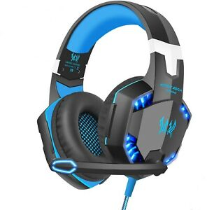 3.5mm Gaming Headset MIC Blue LED Headphones for PC Laptop PS5 PS4 Xbox One