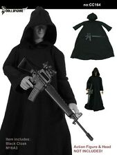 "1/6 Scale Mens Hoodie Cloak Black Cape Mantle for 12"" Male figure body TOYS"