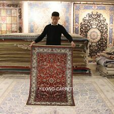 YILONG 3'x5' Red Home Hand-knotted Silk Carpet High Density Tribal Area Rug 291H