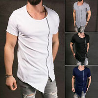 Fashion Men Slim Fit Irregular Short Sleeve Solid Muscle Tee T-shirt Tops Blouse