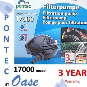 Pontec by OASE Pond omax 8mm solid handling 17000lph koi pond waterfall pump 3yr