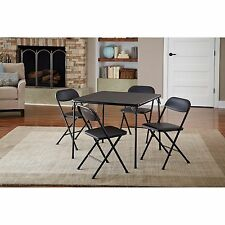 5 Piece Black Folding Card Table And Sturdy Chairs Set To Play Games Coat Finish