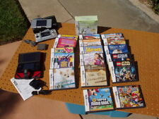 NINTENDO DS LITE RED HANDHELD SYSTEM + 18 GAMES BUNDLE 2 CHARGERS & ONE BROKEN