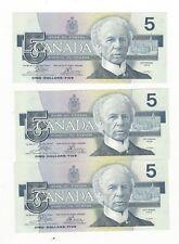 1986 Canada $5 Note,Cro/Boue BC-56a, 3 Seq Notes Ser # ENP 9496932/33 &34
