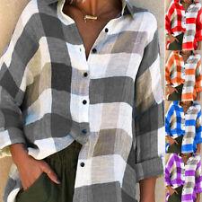 Womens Long Sleeve Check Plaid Shirt V Neck Loose T Shirt Tops Blouse Plus Size