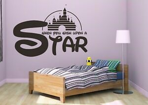 When You Wish Upon A Star Sticker Vinyl Black Wall Lettering CUSTOM COLORS MS80