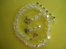 Vtg Lot 3 PC Set Clear Crystal Graduated Bead Necklace & Clip Earrings   #188.
