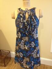 Ann Taylor Blue And Brown Floral Print Sleeveless Shift Dress *Size 0*