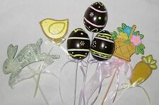 Multicolor 7 Piece Easter Floral Stake Decorations w Eggs Rabbit Chicks Baskets