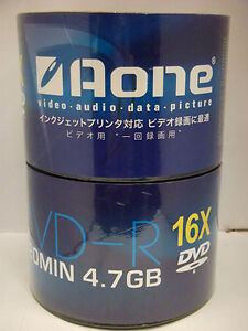 100 x Aone 16x Speed Logo Non Printable Blank DVD-R Discs 4.7GB  2x50's120mins