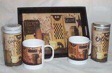 Primitive Coffee Mugs Gift Basket Cookies Wood Tray Folk Art Kitchen Coffee