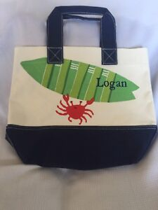 "Pottery Barn Kids Crab Preppy Icon Tote ""Logan"" NWOT"