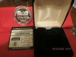 Joe Montana .999 one troy ounce coin the highland mint only 7500 produced