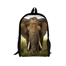 "17""Animal Elephant Boys Mens Travel Shoulder Backpack Daypack School Bookbags"