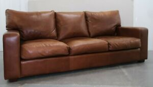 COLLINS & HAYES HEATH THREE SEATER BROWN LEATHER SOFA  FEATHER FILLED CUSHIONS