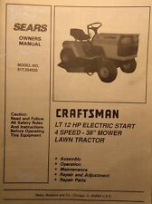 Sears Craftsman LT/12 Lawn Tractor &38 Mower Owner & Parts Manual 52p 917.254630